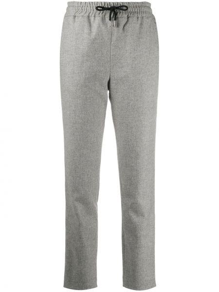 Шерстяные серые брюки дудочки с карманами Max & Moi