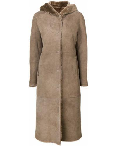Длинное пальто с капюшоном айвори Liska