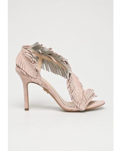 Кожаные босоножки на шпильке - розовые Baldowski