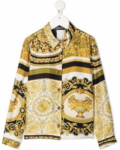 Шелковая с рукавами белая классическая рубашка Young Versace