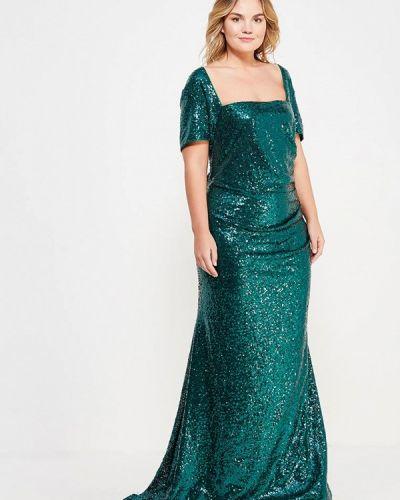 Зеленое платье льняное Goddiva Size Plus
