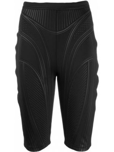 Однобортные черные шорты эластичные Mugler