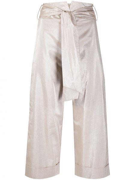 Бежевые укороченные брюки с поясом свободного кроя D.exterior