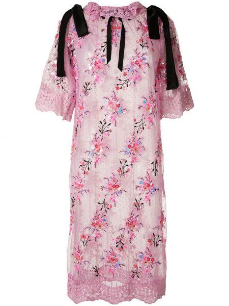 Шелковое розовое платье миди с вышивкой прозрачное Romance Was Born