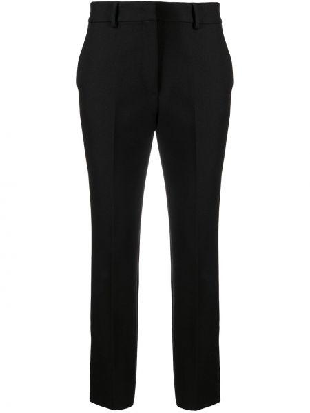 Черные укороченные брюки из вискозы с потайной застежкой Msgm