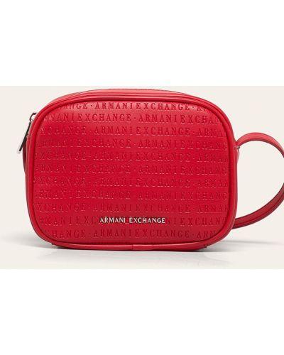 Красная сумка через плечо с перьями Armani Exchange