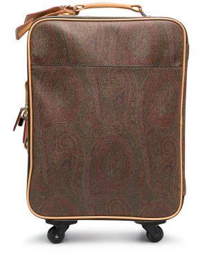 Кожаная коричневая сумка круглая Etro
