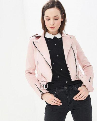 Кожаная куртка весенняя розовая Modis