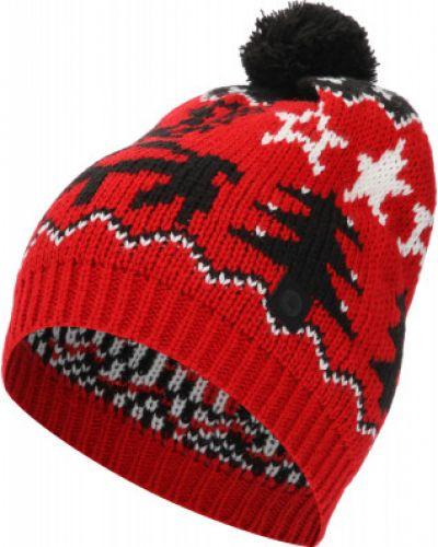 Акриловая красная вязаная спортивная шапка Luhta