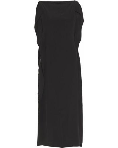 Шелковое черное платье миди с драпировкой Mcq Alexander Mcqueen