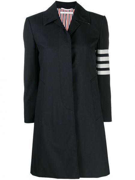 Синее шерстяное пальто классическое с капюшоном Thom Browne