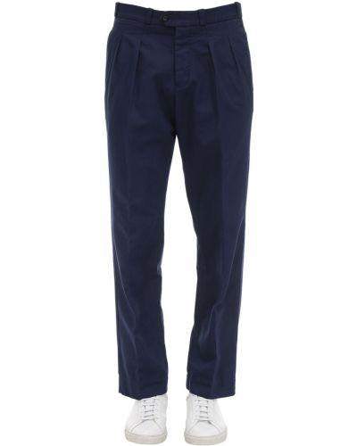 Niebieskie spodnie bawełniane z paskiem Pantaloni Torino
