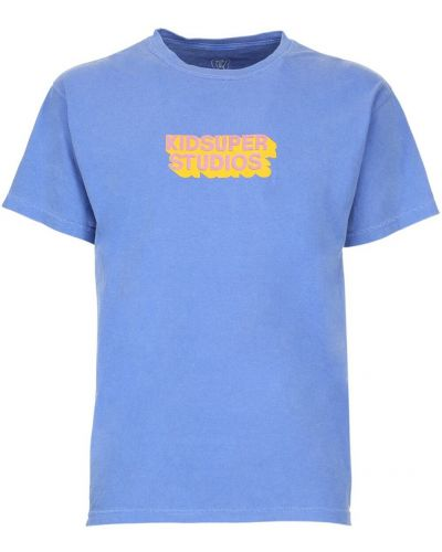 Niebieski t-shirt bawełniany Kidsuper Studios