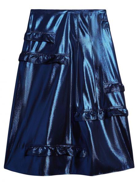 Шелковая синяя с завышенной талией юбка миди Burberry