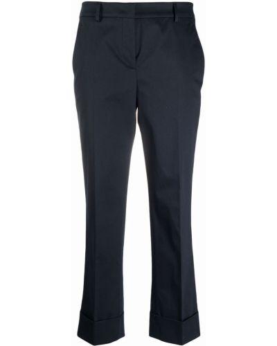 Хлопковые прямые синие укороченные брюки Incotex