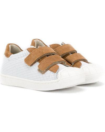 Кожаные белые кроссовки на липучках на плоской подошве Pépé Kids