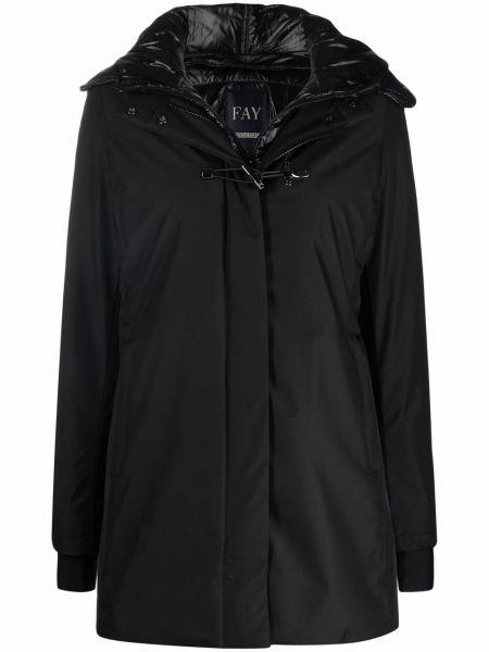 Пальто с капюшоном - черное Fay