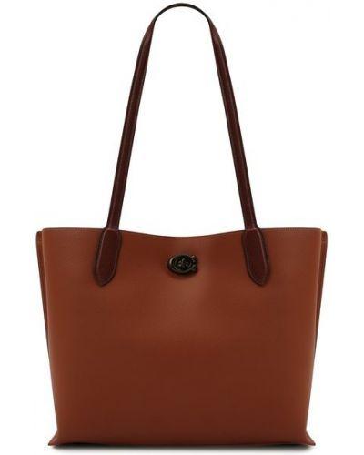 Коричневая кожаная сумка шоппер Coach