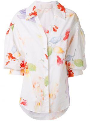 Biała koszula bawełniana z printem Peter Pilotto