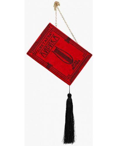 Красный клатч бархатный Zarina
