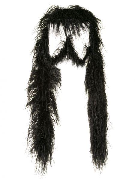 Черная шаль с драпировкой с перьями 16arlington