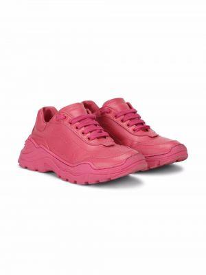 Różowe sneakersy skorzane Dolce & Gabbana Kids