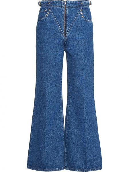Укороченные джинсы расклешенные с заклепками Miu Miu