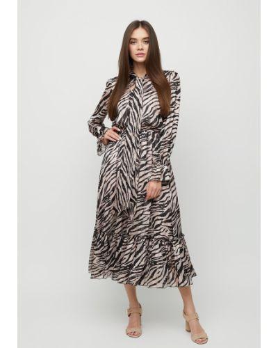 Батистовое платье макси с оборками с воротником на каблуке Cardo