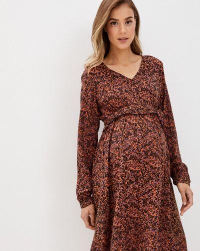 Коричневое прямое платье для беременных Mama.licious