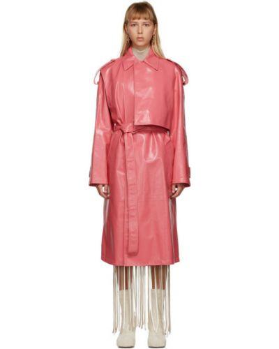 Розовое длинное пальто с воротником с карманами Bottega Veneta