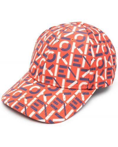 Pomarańczowa czapka bawełniana z printem Kenzo