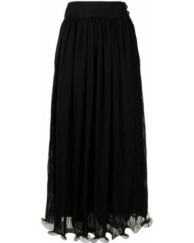 Расклешенная черная юбка с вышивкой Giorgio Armani