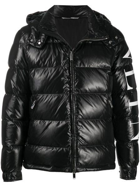 Пуховая черная длинная куртка с капюшоном Valentino