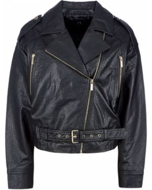 Кожаная куртка черная оверсайз Armani Exchange
