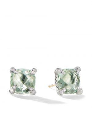 Zielone kolczyki sztyfty srebrne z diamentem David Yurman