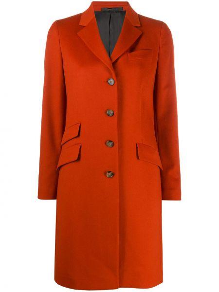Красное кашемировое длинное пальто с воротником Paul Smith