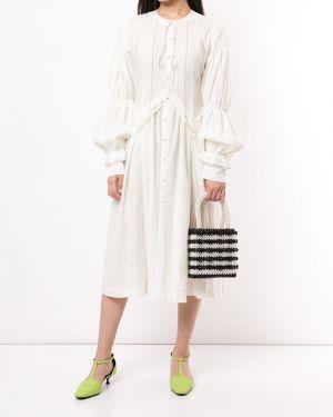 Расклешенное платье миди с вышивкой со складками на пуговицах Renli Su