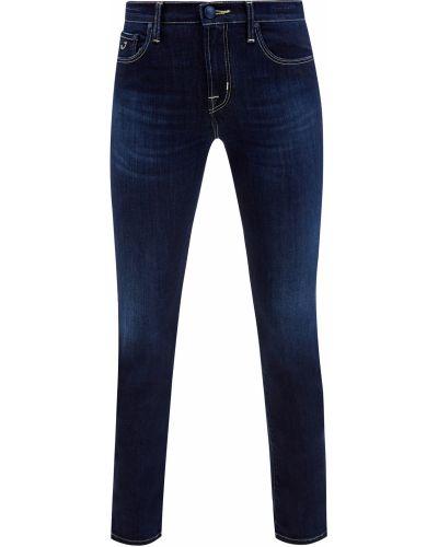 Хлопковые синие зауженные джинсы-скинни с сеткой Jacob Cohen