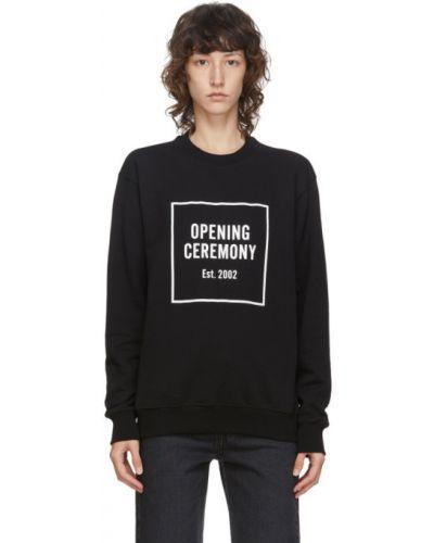 Черный махровый свитшот с манжетами с длинными рукавами Opening Ceremony