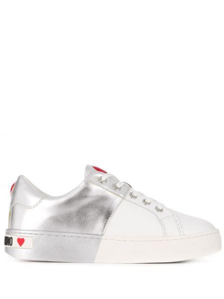 Кожаные кроссовки с логотипом белый Love Moschino