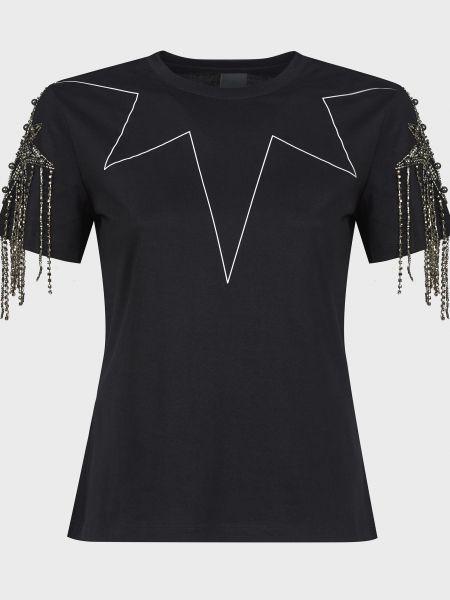 Хлопковая черная футболка с бисером Pinko