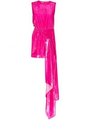Różowa sukienka mini asymetryczna z jedwabiu Halpern
