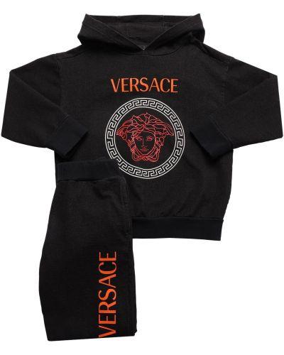 Prążkowane czarne spodnie bawełniane Versace