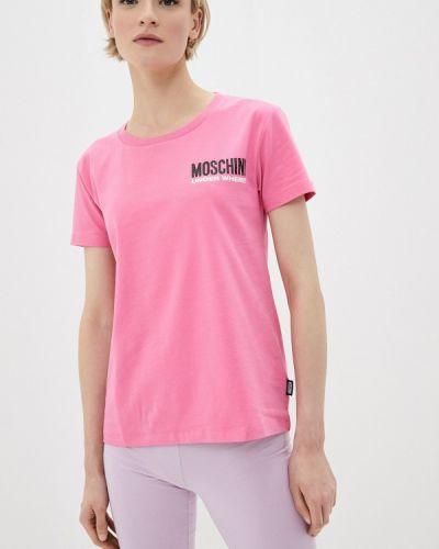 Розовая с рукавами футболка Moschino Underwear