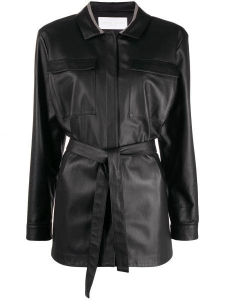 Черная кожаная куртка с воротником Fabiana Filippi