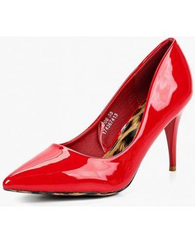 Туфли на каблуке кожаные красные Catisa