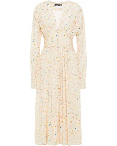 Satynowa sukienka midi zapinane na guziki z printem Rotate Birger Christensen