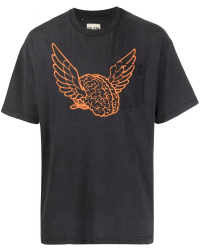 Czarny t-shirt krótki rękaw z printem Gallery Dept.