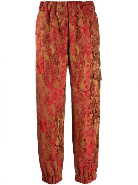 Красные укороченные брюки с карманами из вискозы Alberto Biani