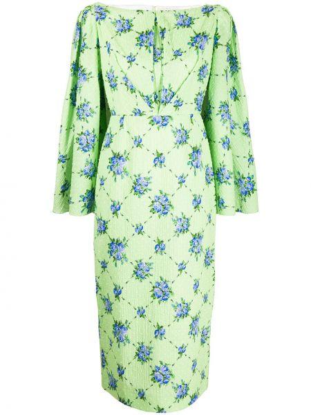 Хлопковое синее прямое приталенное платье макси Emilia Wickstead
